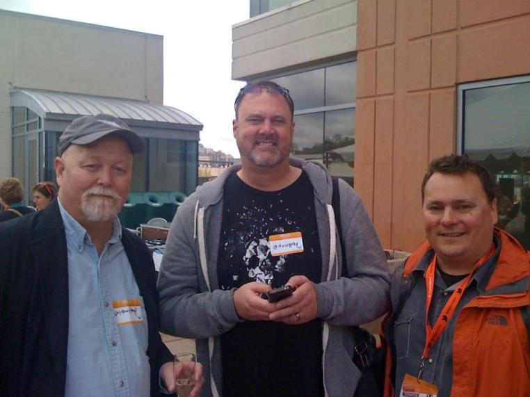 Friends Stowe Boyd, Dave Gray, Jesse Engle at the ExtactTarget party at SXSW2012