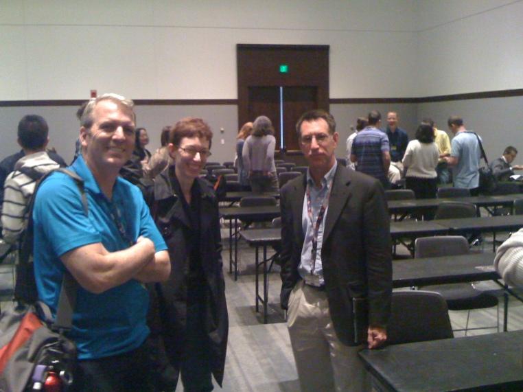 Greg Lowe (@gregdot0), Teresa Doyon (@tdoyon) and Larry Hawes (@lehawes) at Enterprise 2.0 Conference 2011, Boston