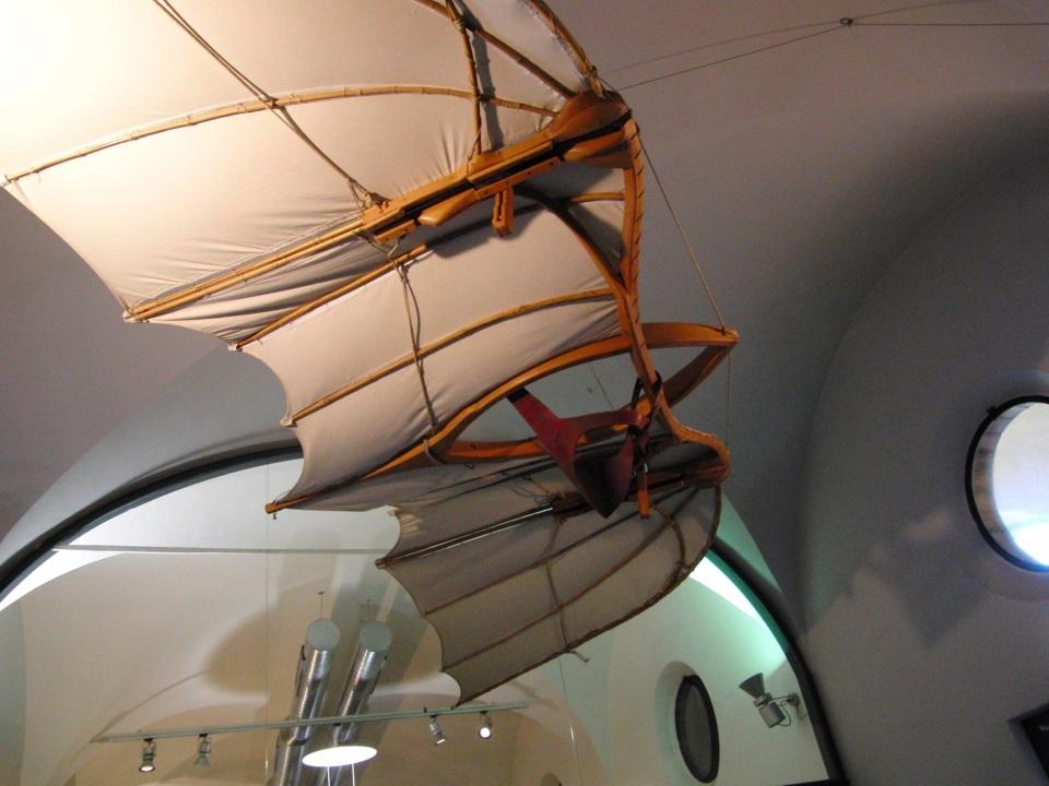 Da Vinci's Study of Bird Wings model at Museo de Scientifica et Technologica, Milan